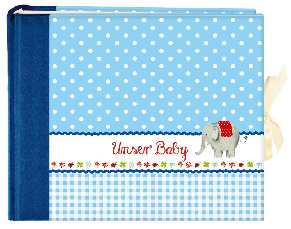 Unser Baby (blau). Großes Foto-Eintragalbum als Buch von
