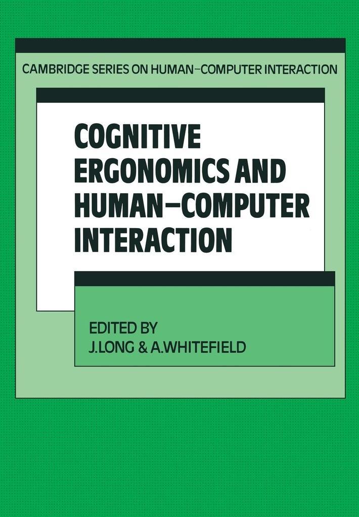 Cognitive Ergonomics and Human-Computer Interaction als Taschenbuch von