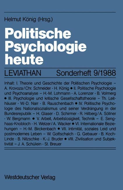 Politische Psychologie heute als Buch von