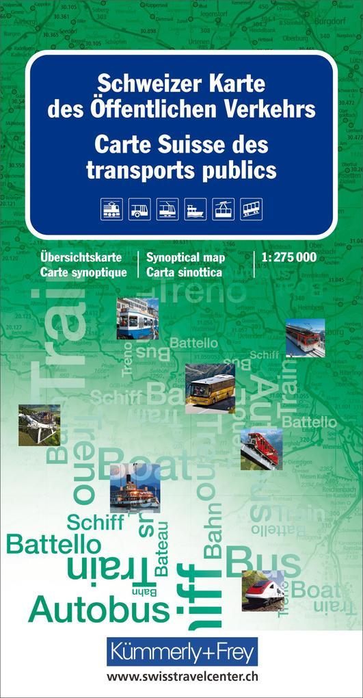 Schweizer Karte des öffentlichen Verkehrs 1 : 275 000 als Buch von
