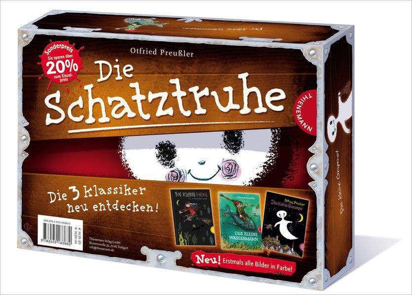 Schatztruhe mit Das kleine Gespenst, Die kleine Hexe, Der kleine Wasserman koloriert als Buch von Otfried Preußler