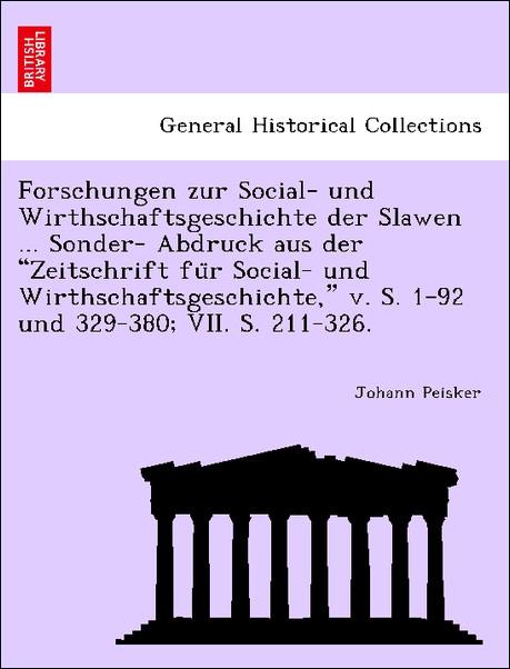 Forschungen zur Social- und Wirthschaftsgeschic...