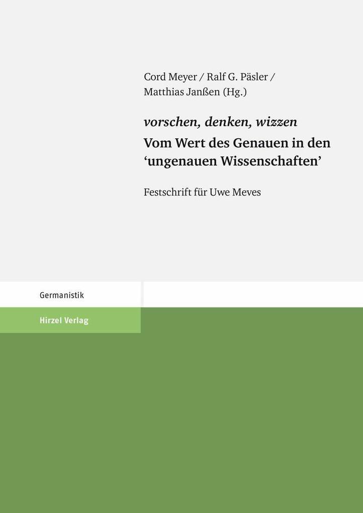 vorschen, denken, wizzen. Vom Wert des Genauen in den ´ungenauen Wissenschaften´ als eBook von Cord Meyer, Ralf Päsler, Matthias Janßen