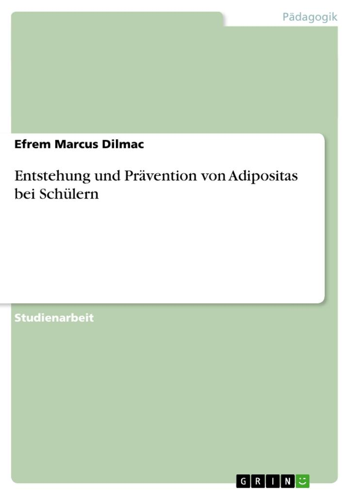 Entstehung und Prävention von Adipositas bei Schülern als Buch von Efrem Marcus Dilmac