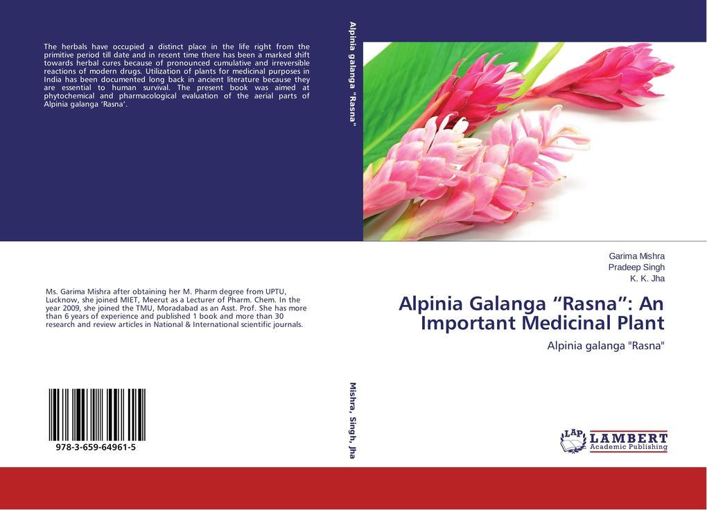 Alpinia Galanga Rasna: An Important Medicinal Plant als Buch von Garima Mishra, Pradeep Singh, K. K. Jha
