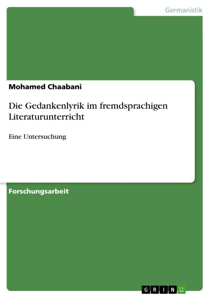 Die Gedankenlyrik im fremdsprachigen Literaturunterricht als eBook von Mohamed Chaabani