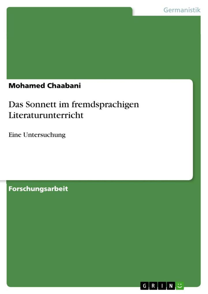 Das Sonnett im fremdsprachigen Literaturunterricht als eBook von Mohamed Chaabani