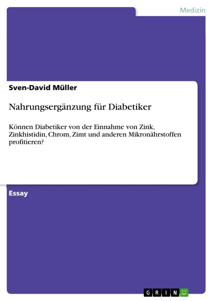 Nahrungsergänzung für Diabetiker als eBook von Sven-David Müller