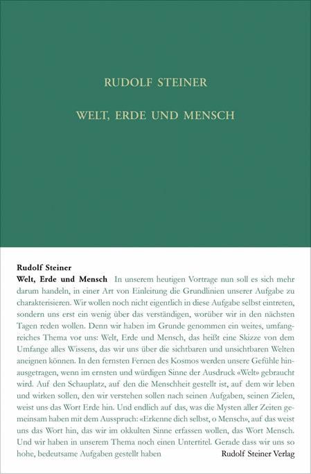 Welt Erde und Mensch als Buch von Rudolf Steiner