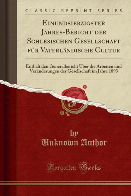 Einundsiebzigster Jahres-Bericht der Schlesisch...