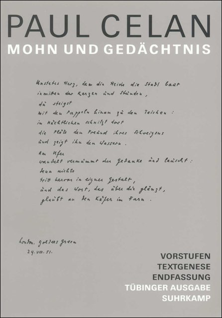 Werke. Tübinger Ausgabe. Mohn und Gedächtnis als Buch von Paul Celan, Paul Celan, Christiane Braun