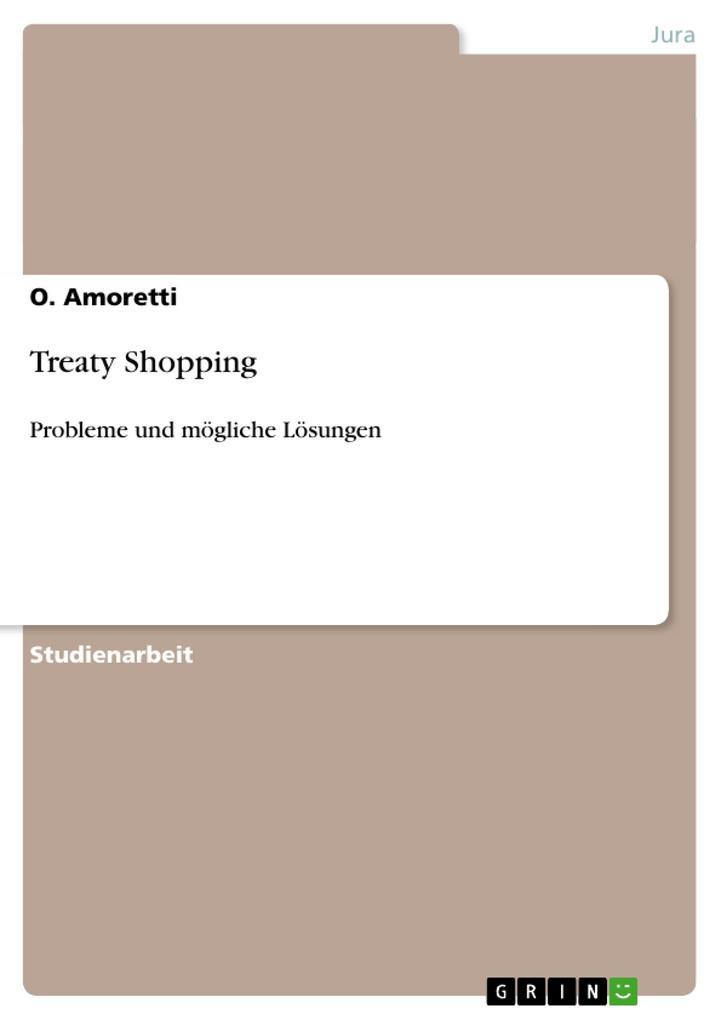 Treaty Shopping als Buch von O. Amoretti