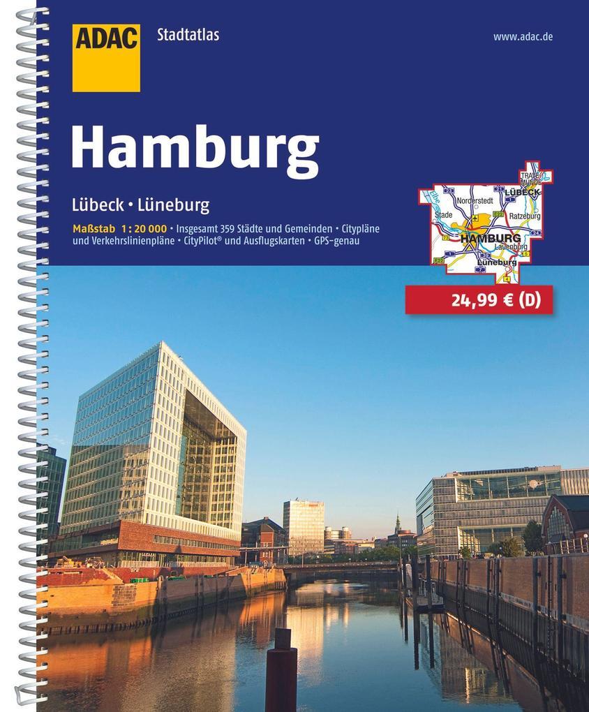 ADAC Stadtatlas Hamburg mit Lübeck, Lüneburg 1:20 000 als Buch