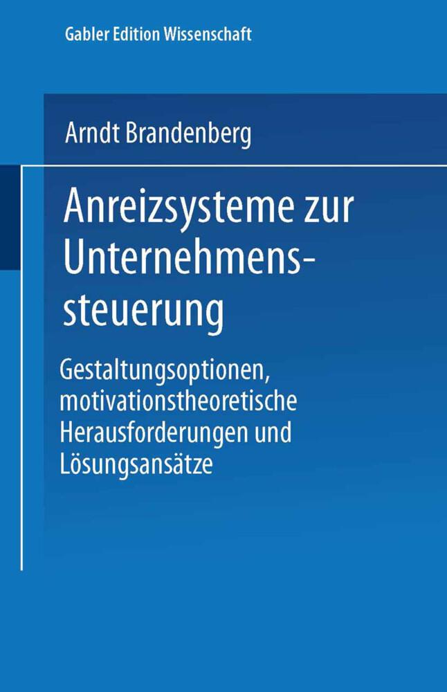 Anreizsysteme zur Unternehmenssteuerung als Buch