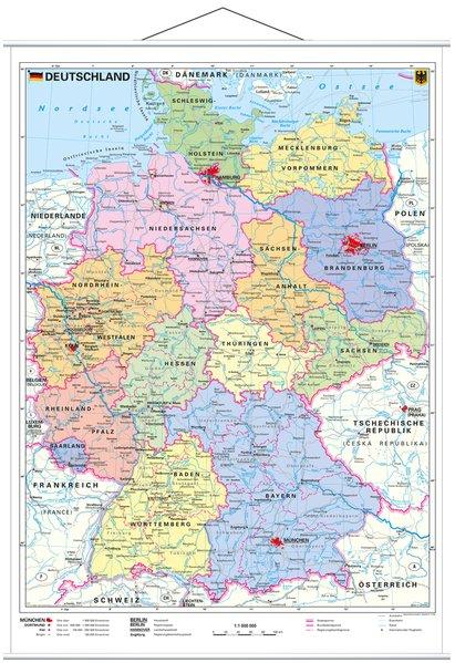 Deutschland, politisch 1 : 1 000 000. Wandkarte Kleinformat mit Metallstäben als Buch