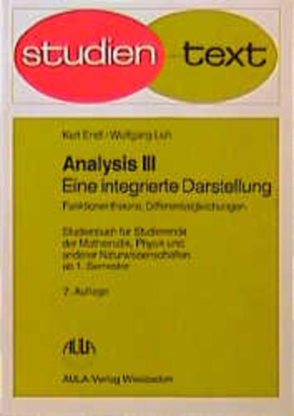 Analysis III. Funktionentheorie, Differentialgleichungen als Buch
