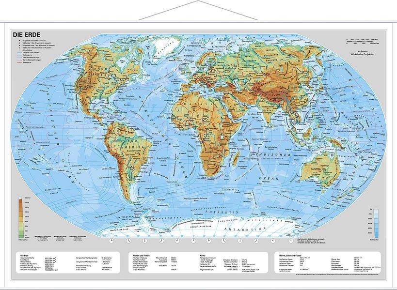 Die Erde, physisch 1 : 60 000 000. Wandkarte Mini-Format als Buch