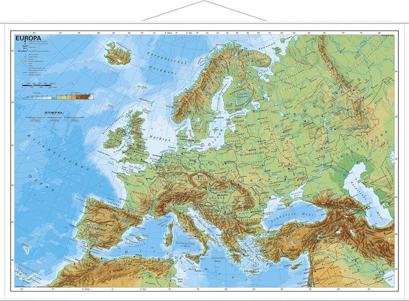 Europa, physisch 1 : 11 000 000. Wandkarte Mini-Format als Buch
