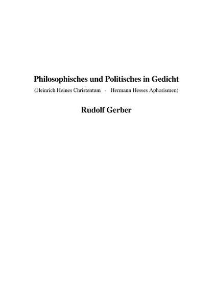Philosophisches und Politisches in Gedicht als Buch