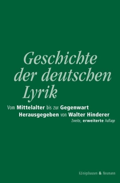 Geschichte der deutschen Lyrik vom Mittelalter bis zur Gegenwart als Buch
