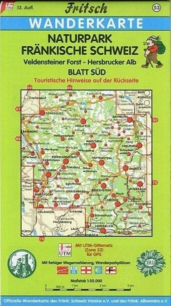Naturpark Fränkische Schweiz Süd 1 : 50 000. Fritsch Wanderkarte als Buch