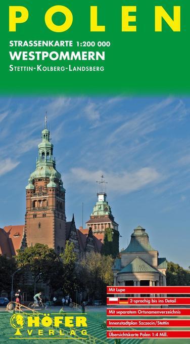 Höfer Polen PL 001. Westpommern. Stettin /Kolberg /Landsberg 1 : 200 000. Straßenkarte als Buch