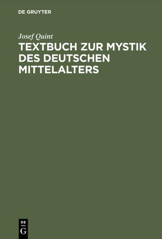 Textbuch zur Mystik des deutschen Mittelalters als Buch