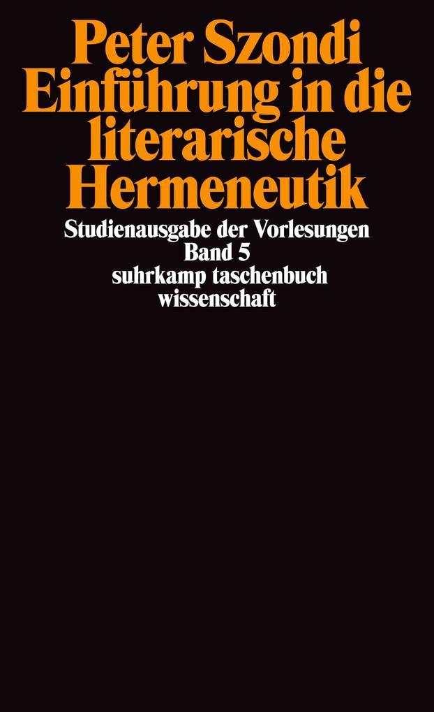 Einführung in die literarische Hermeneutik als Taschenbuch