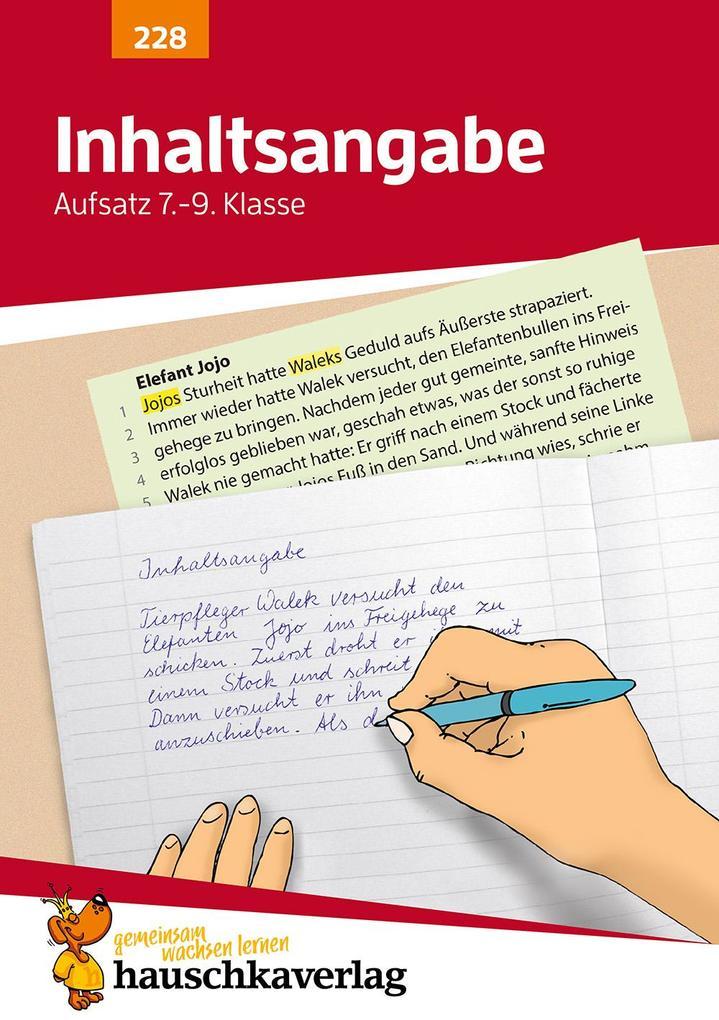 Inhaltsangabe. Aufsatz 7.-9. Klasse als Buch