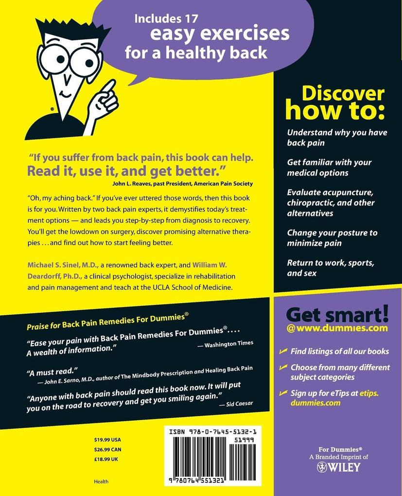 Back Pain Remedies for Dummies als Buch