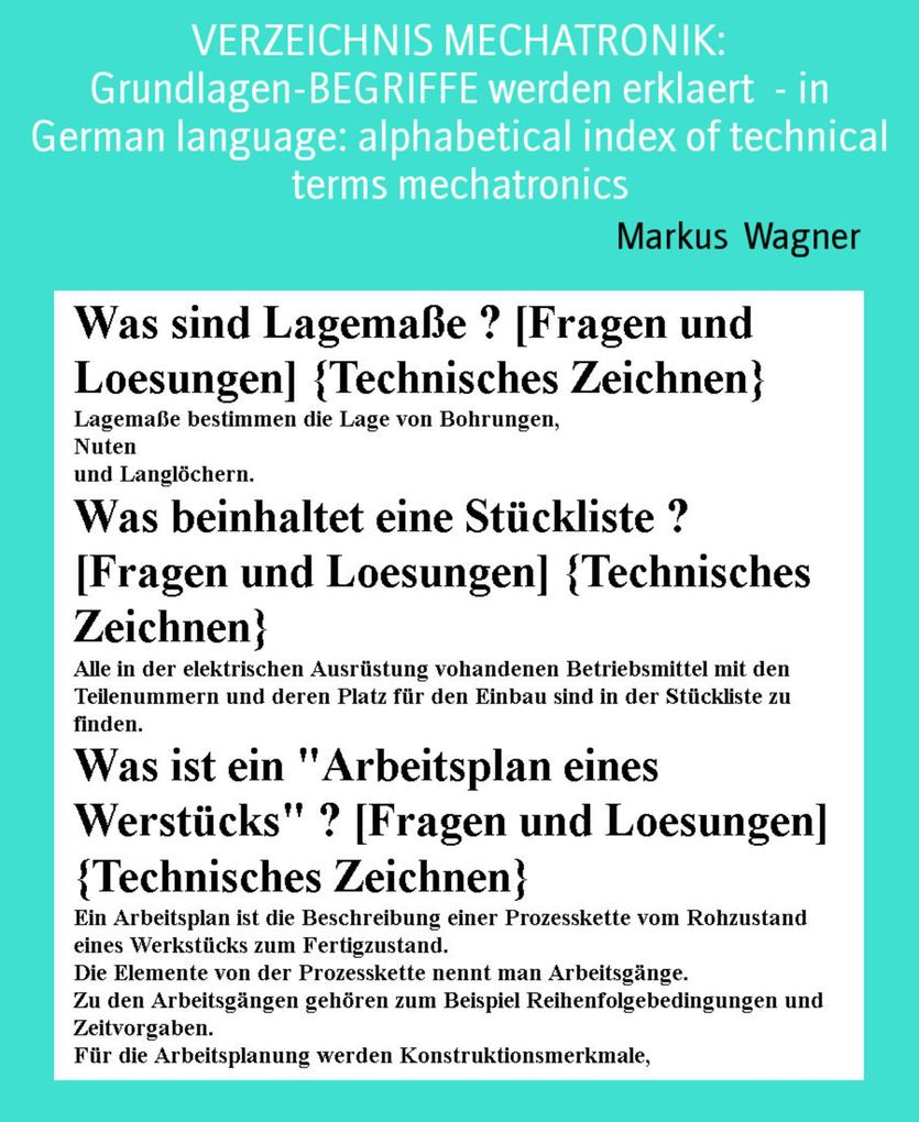 VERZEICHNIS MECHATRONIK: Grundlagen-BEGRIFFE werden erklaert - in German language: alphabetical index of technical terms mechatronics als eBook
