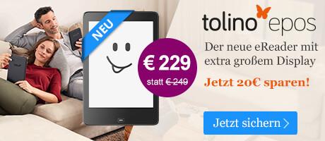 tolino epos mit extra großem Display für 229 EUR bei eBook.de