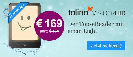 Der eReader tolino vision 4 HD für € 169 bei eBook.de