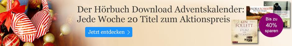 Der Hörbuch Download Adventskalender bei eBook.de - sparen Sie bis zu 40%.