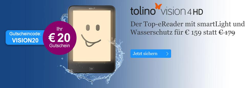 eReader tolino vision 4 HD mit smartLight mit € 20-Gutschein für € 159