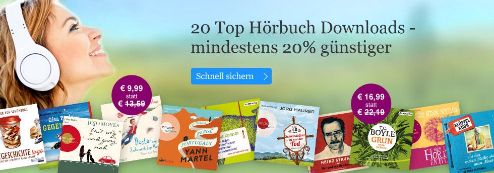 20 Top Hörbuch Downloads mindestens 20% günstiger