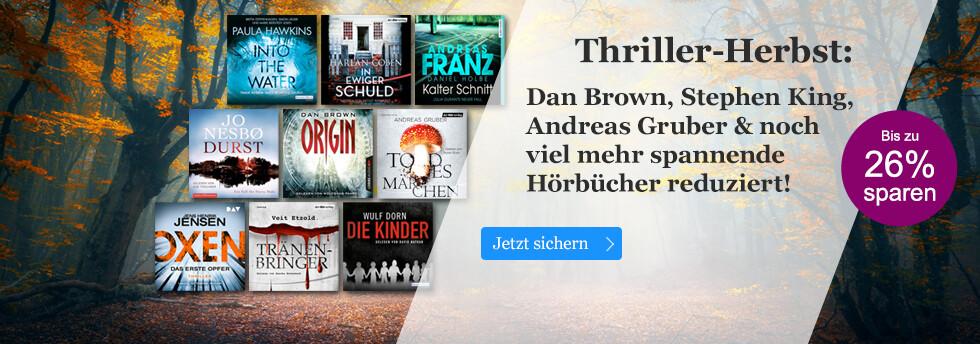 Thriller-Herbst: Dan Brown, Stephen King, Andreas Gruber & noch viel mehr Hörbücher reduziert!