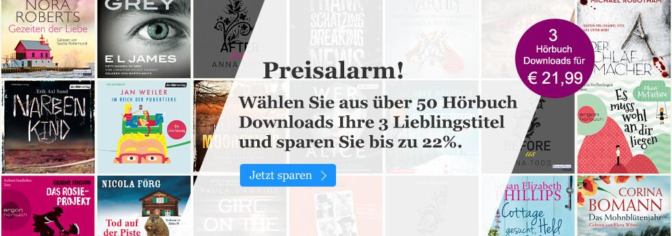 3 Hörbuch Downloads für € 21,99  - jetzt sichern