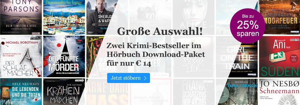 Zwei Krimi-Bestseller im Hörbuch Download-Paket nur 14 EUR