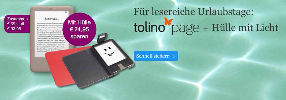 Der tolino page mit Hülle nur 60 Euro bei eBook.de