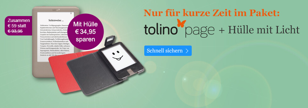 Der tolino page mit Hülle nur 59 Euro bei eBook.de