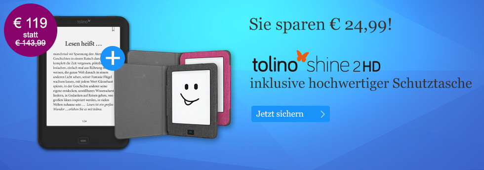 tolino shine 2 HD mit Hülle für nur 119 EUR bei eBook.de