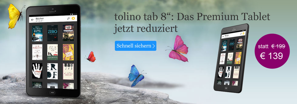 Das tolino tab 8 jetzt reduziert für nur 139 EUR bei eBook.de entdecken.