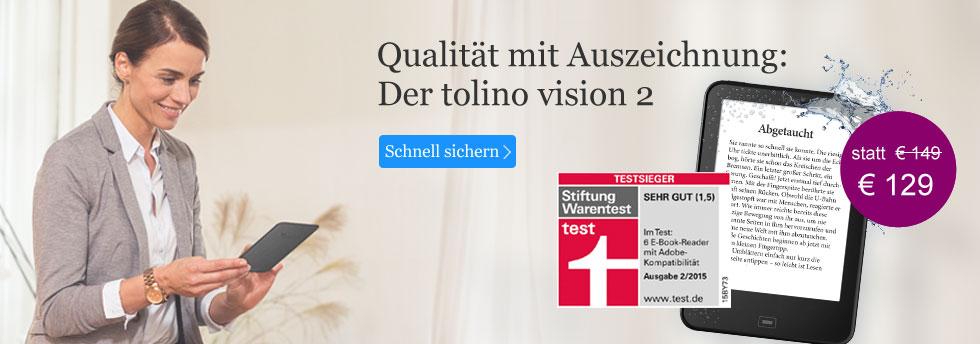 Testsieger tolino vision 2 - Qualität mit Auszeichnung bei eBook.de.