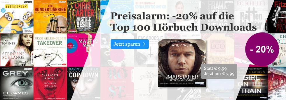 Preisalarm: Minus 20% auf Top-Hörbuch Downloads bei eBook.de