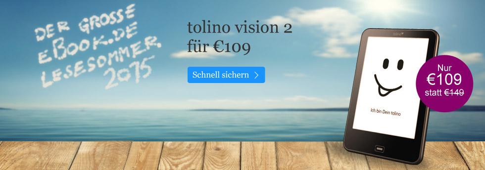 Entdecken Sie den Testsieger tolino vision 2 für 109 EUR bei eBook.de!