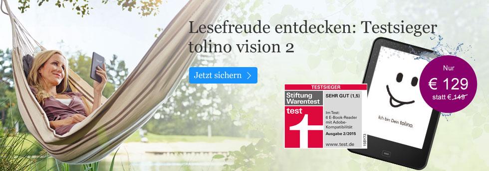 Entdecken Sie den Testsieger tolino vision 2 für 129 EUR bei eBook.de!