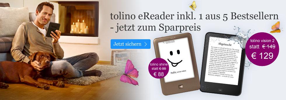 Die tolino eBook Reader zum Sparpreis im Paket mit einem Bestseller bei eBook.de.