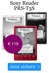 Der Sony Reader PRS-T3S bei eBook.de für 119 EUR.