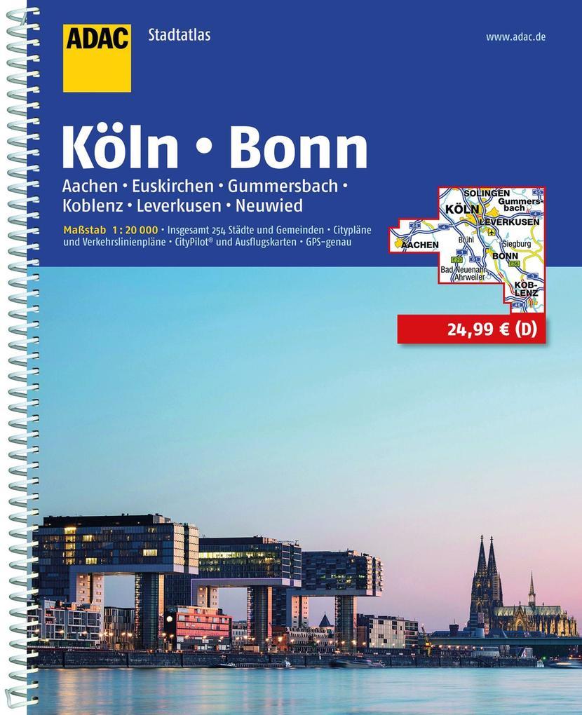 ADAC Stadtatlas Köln, Bonn, Aachen, Euskirchen, Gummersbach, Koblenz, Leverkusen 1:20000 als Buch